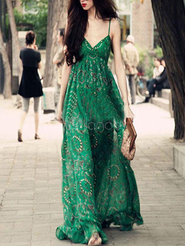 2a053e6ea1e Green Women's Dress Sleeveless V-Neck Milk Silk Printed Maxi Dress ...