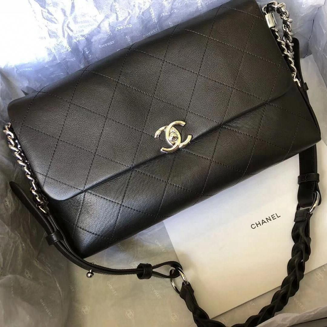 1d4d128f8dce27 Chanel Black Calfskin Braided with Style Small Flap Bag A57116 2018 # Chanelhandbags