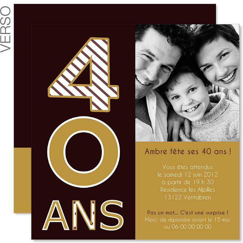 Carte Invitation Anniversaire 40 Ans Femme Carte
