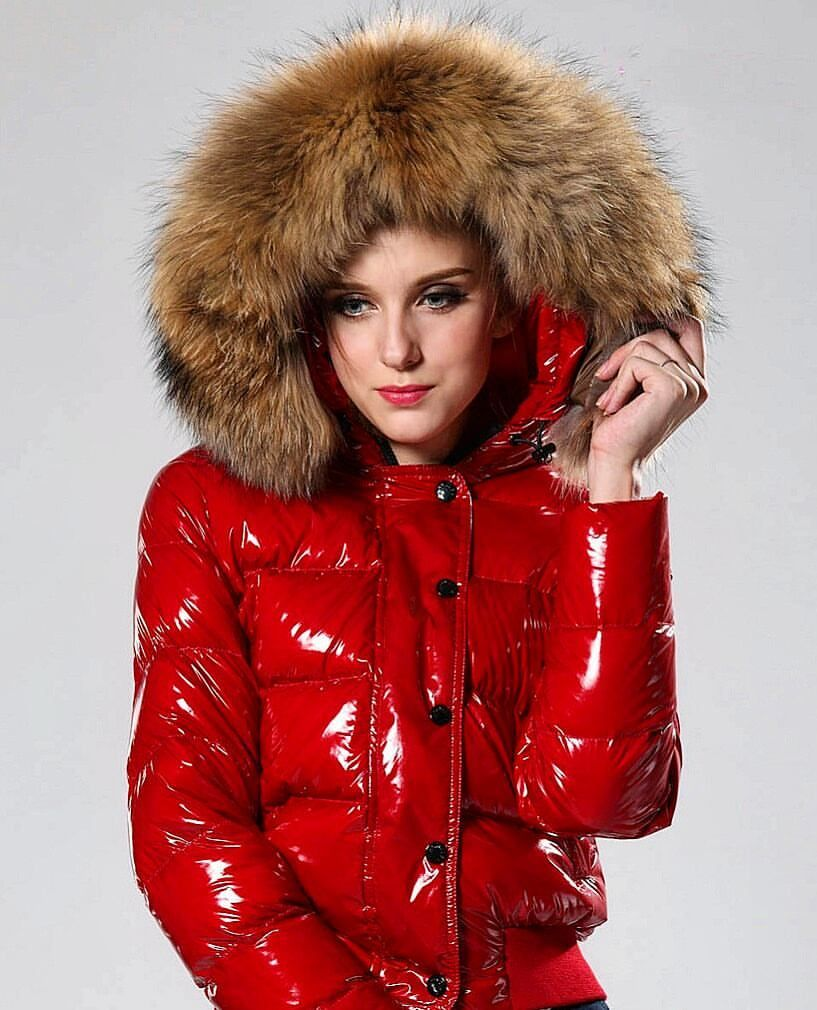 Wow, what a beautiful red puffy jacket, love that fluffy fur hood ...