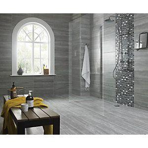Wickes Everest Slate Porcelain Tile 600 X 300mm Bathroom Floor Tiles Vinyl Flooring Bathroom Grey Bathroom Floor