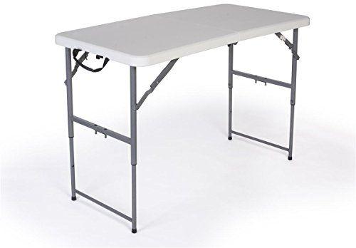 Displays2go Adjustable Height Folding Table 4 Feet White Table Tall Table Table Height