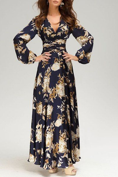 b7a051fc51a4 Vintage Plunging Neck Long Sleeve Floral Print Prom Dress For Women ...