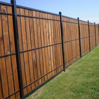 Oz Post Wood And Wrought Iron Yelp Wood Fence Design Iron Fence Backyard Fences