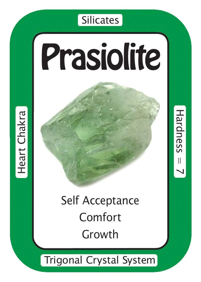 """Prasiolite, """"The healing energy of the Universe flows through me and into the Earth."""" Prasiolite (also called Vermarine, or Green Amethyst) helps to energetically link the physical of the Human self with the spiritual of Higher Self."""