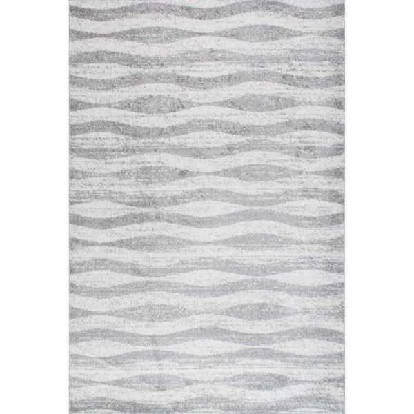 NuLOOM Contemporary Waves Grey Rug 76 X 96 By Nuloom