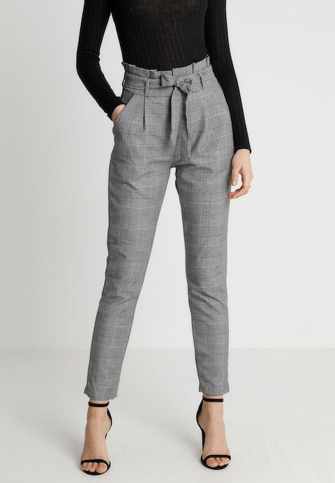 Black and White Chic Trendy Office Trousers Grey Tailored Women/'s Capri Pants