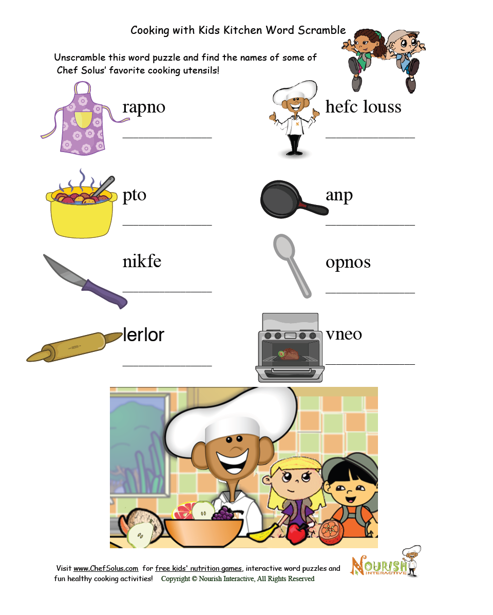 Kitchen Safety For Kids Worksheets: Cooking With Kids Word Scramble