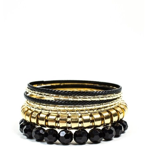 Black And Gold Mixed Bangles Set ($5.90) ❤ liked on Polyvore featuring jewelry, bracelets, accessories, black, gold bangles, black bangles, black bracelet, black gold jewelry and bangle bracelet set