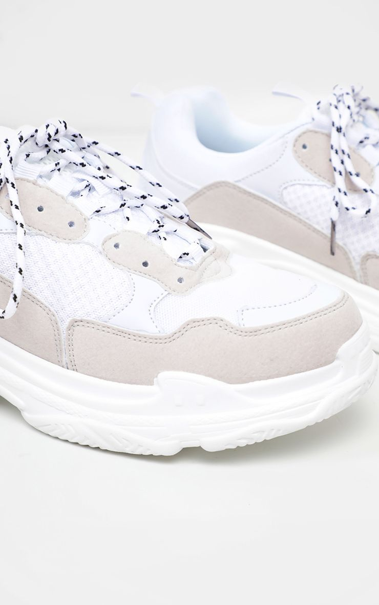 White Lace Up Chunky Trainer | Lace up