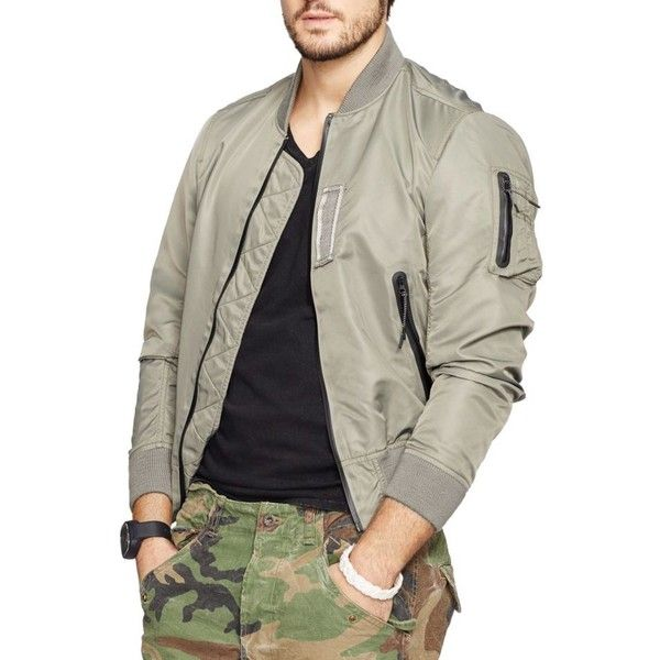 Denim Supply Ralph Lauren Steel Green Twill Bomber Jacket ($198) ❤ liked on  Polyvore featuring men's fashion, men's clothing, men's outerwear, ...