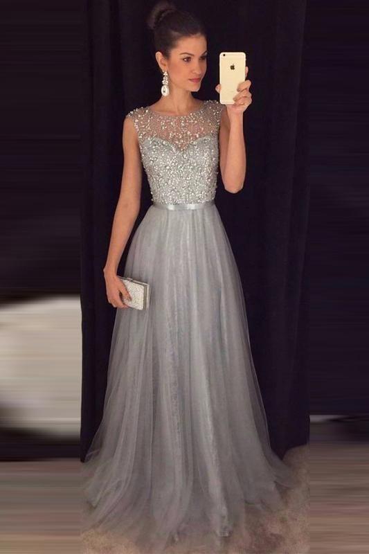 A-line Beaded Long Prom Dress Custom Made Formal Dress Fashion Winter Dance Dress CR 1005