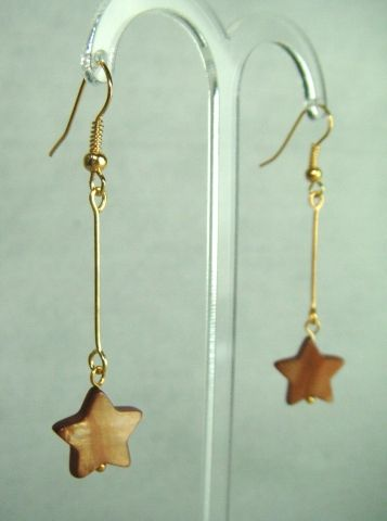 Butterscotch Mother of Pearl Star Drop Earrings - £5.50 at http://jewellerybyrebecca.co.uk/mpe001