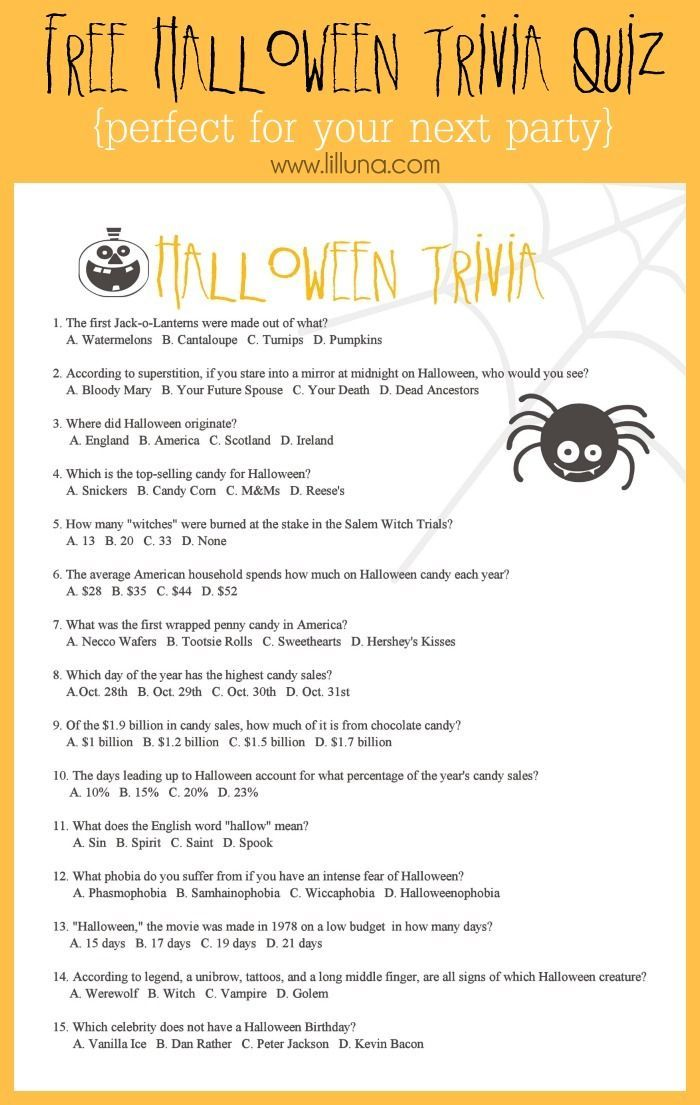free halloween trivia game perfect for your upcoming party the only real holiday pinterest halloween trivia trivia games and trivia