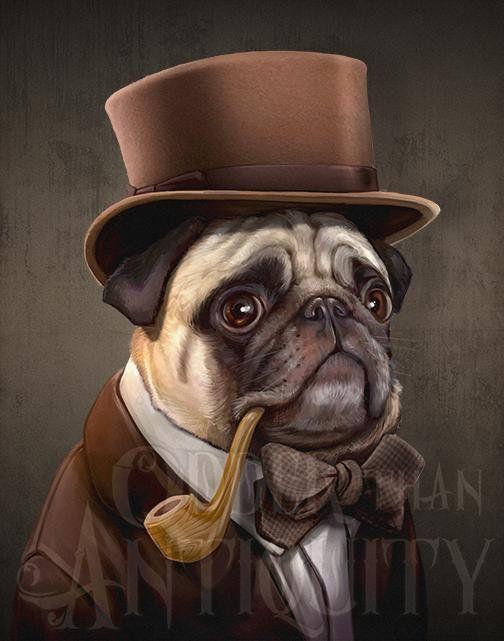 e52d408cfc9 Mr. Farnsworth Pug Gentleman Victorian Steampunk Top Hat Pipe Original  Illustration Costumed Portrai