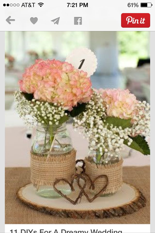 Love this center piece idea of the small wood Wedding Pinterest