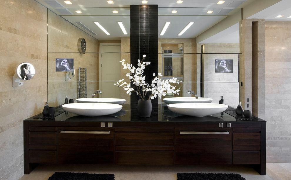Bathroom  Contemporary  Bathroom  Other Metro  Elad Gonen Inspiration Large Bathroom Vanity Mirrors Decorating Design