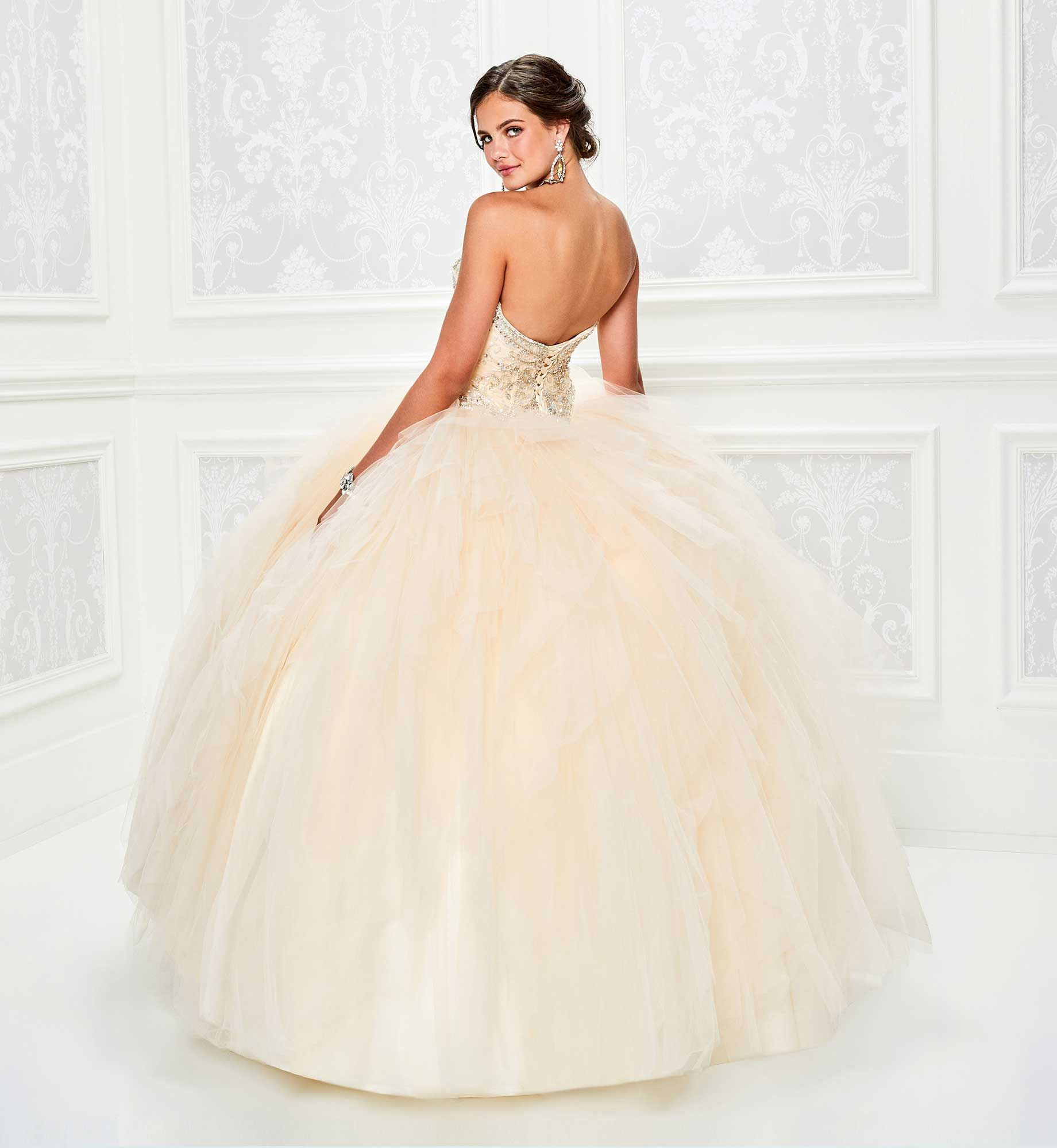 6cdbf98d8 Princesa by Ariana Vara PR11808 - Strapless tulle and satin ball gown,  featuring a sweetheart neckline, beaded bodice, basque waist, tiered tulle  skirt, ...