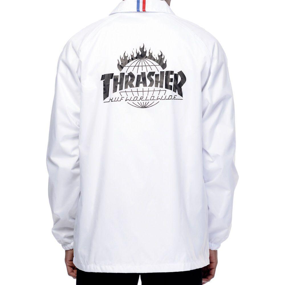 32bfd4035 HUF x THRASHER Mens NEW White Nylon TDS Coachs Jacket Size XL NWT ...