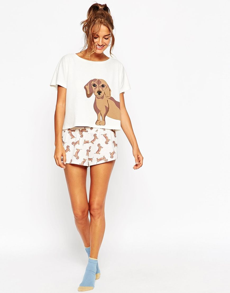 6c1d9b5e3f Image 4 of ASOS Sausage Dog Tee   Short Pajama Set