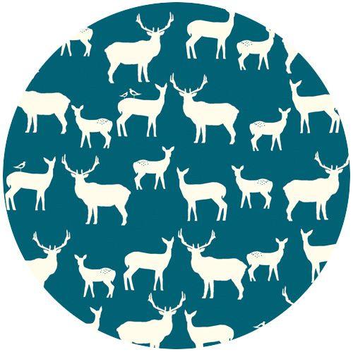Jay-Cyn Designs for Birch Fabrics, Mod Basics 2, Organic, Elk Fam Teal