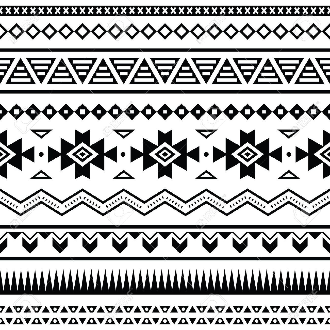 Stock Vector Mexican Pattern Tribal Patterns Seamless Patterns