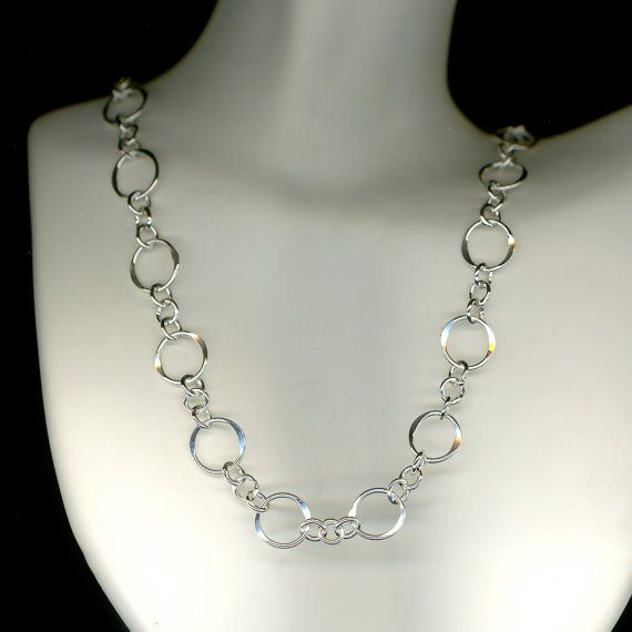 Circle Chain Sterling Silver Necklace Hammered Link Circles Wire