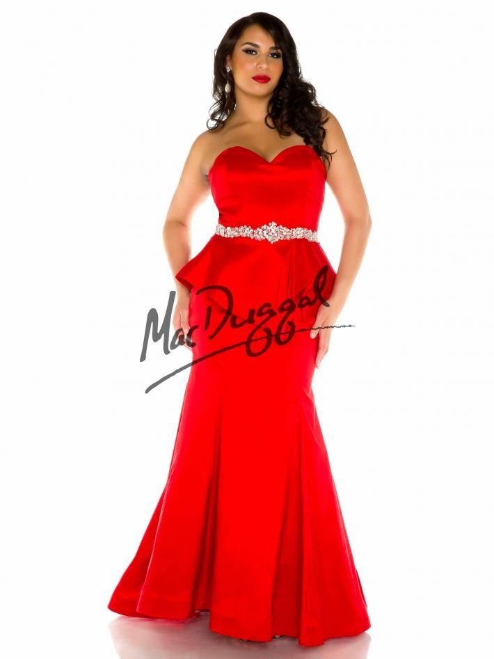 Red Plus Size Prom Dress Peplum Plus Size Dress Mac Duggal