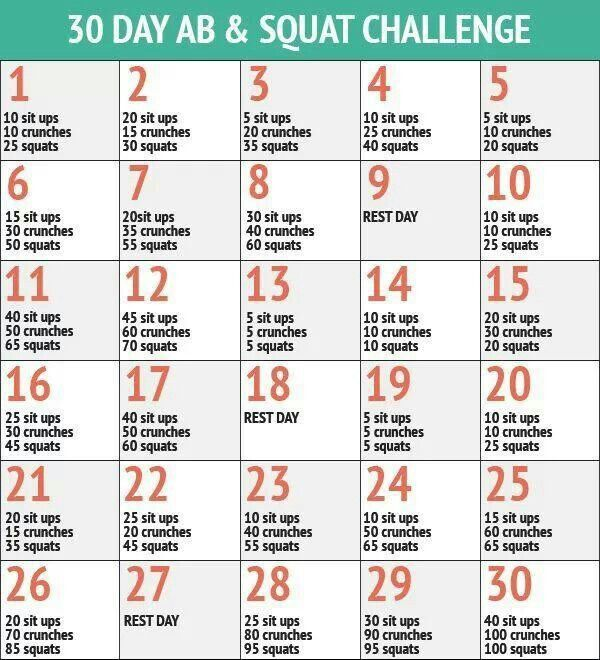 30 day squat, sit up, and crunch routine   Excerises ...  30 day squat, s...