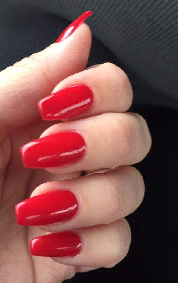 Red Coffin Nails Red Nails Red Acrylic Nails Christmas Nails Diy