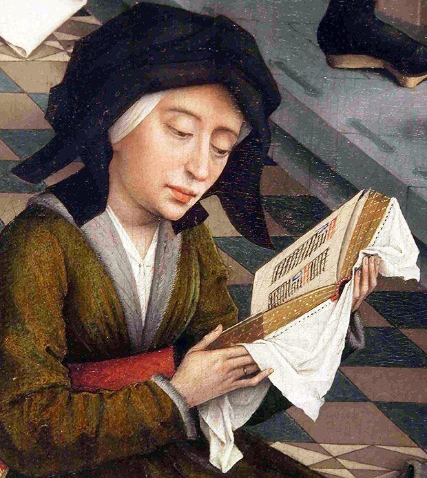 """Una donna legge una preghiera da un libro devozionale tenuto con grande cura con un tessuto bianco che copre la preziosa legatura"""". Dettaglio dal grande trittico dei Sette Sacramenti di Rogier van der Weyden (Belgio 1399 - 1464). Olio su tavola, 1450. Koninklijk Museum voor Schone Kunsten, Anversa"""