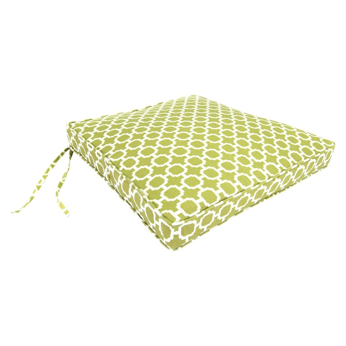 "Outdoor Seat Cushion - Green/White Geometric 19""x17"""