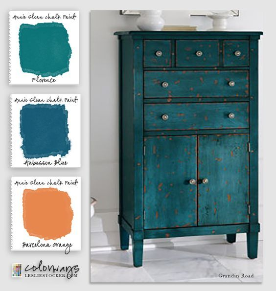 Colorways with Leslie Stocker » Annie Sloan Blues and Greens Aubusson Blue. Florence, Barcelona Orange #easydiy