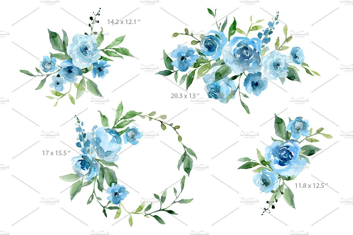 Blue Watercolor Flowers Green Leaves Sponsored Brochures