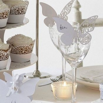 White Butterfly Wedding Place Cards Dream Wedding Butterfly
