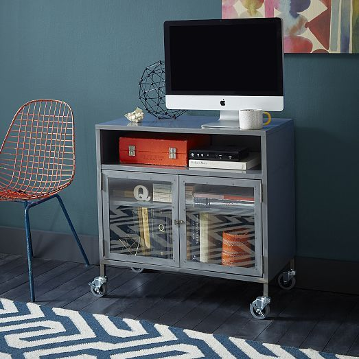 Industrial Metal Tv Cart West Elm 399 For Office Tv Cart Metal Furniture Industrial Metal