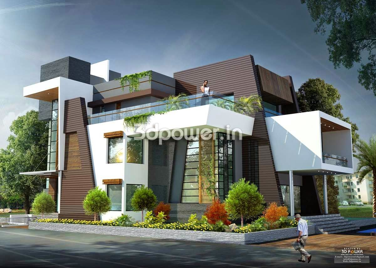 Side angle view of contemporary bungalow beautiful house Designer houses in india