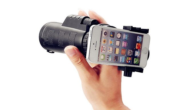 Monocular telescope with smartphone attachment zoom in for a