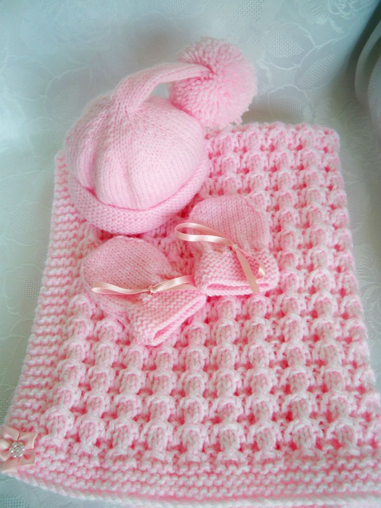 218431cf024 Hand Knitted Baby Girls Blanket Pink and White with Pixie Hat and Mittens