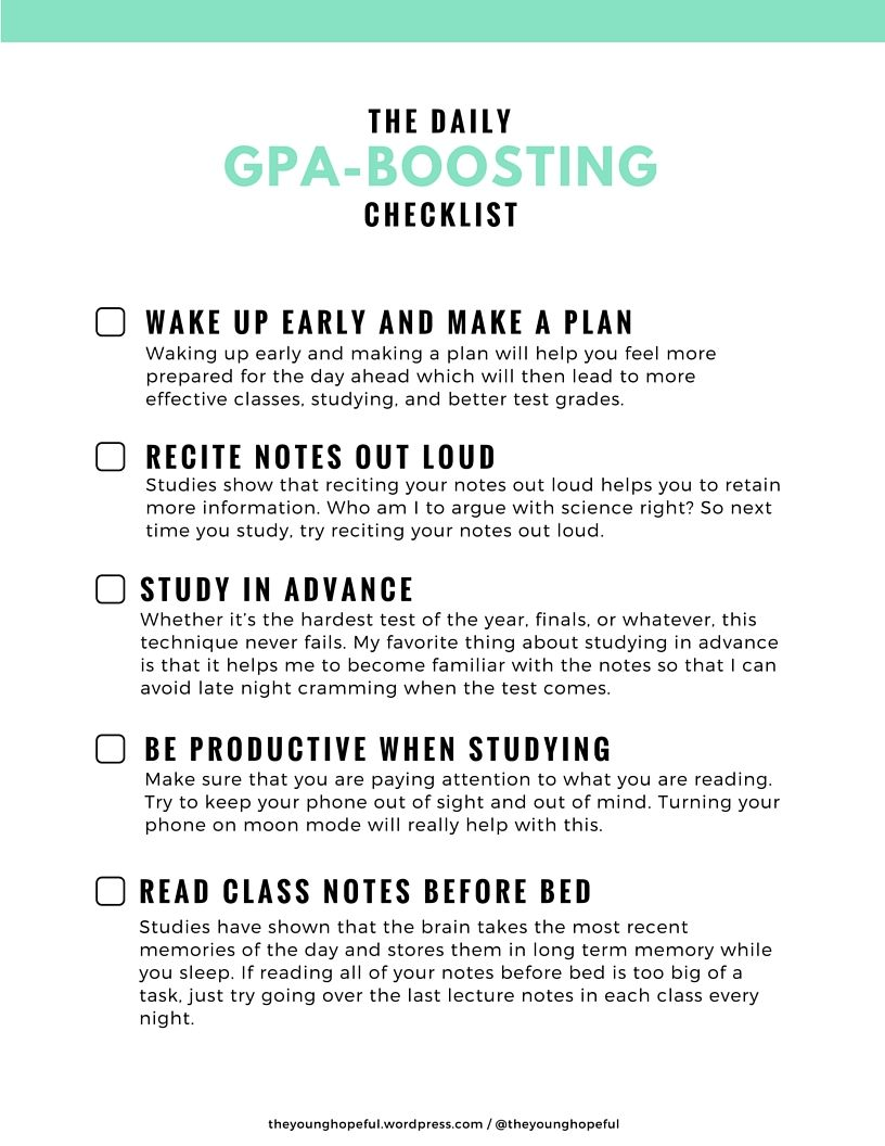 gpa boosting checklist s t u d y h a r d each day study habits