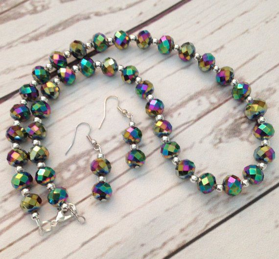 2074735d3124 Rainbow Crystal Necklace and Earrings Set
