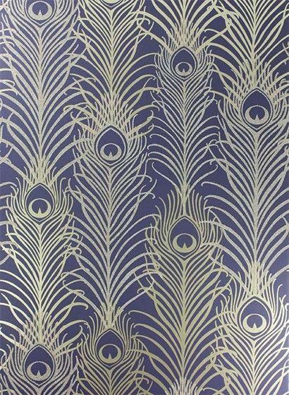Tapete Peacock von Osborne \ Little - Violet  Antique Gold 26563 - goldene tapete modern design