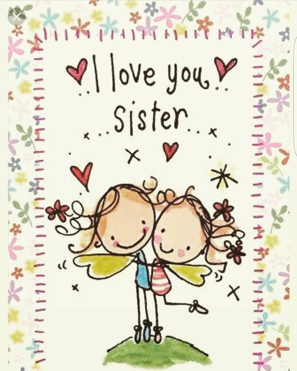Cartoon Card Happy Birthday For Sister