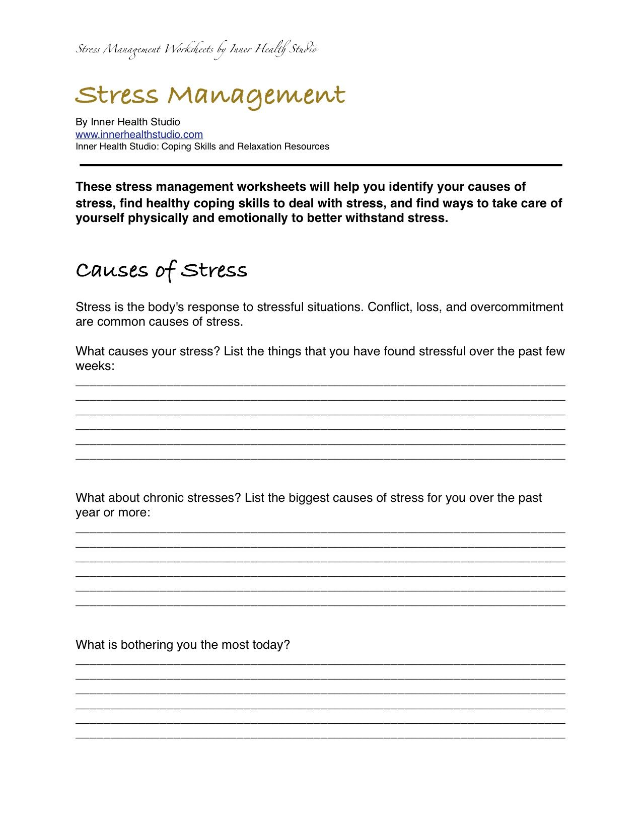 Stress Management Worksheets PDF Self Care Pinterest