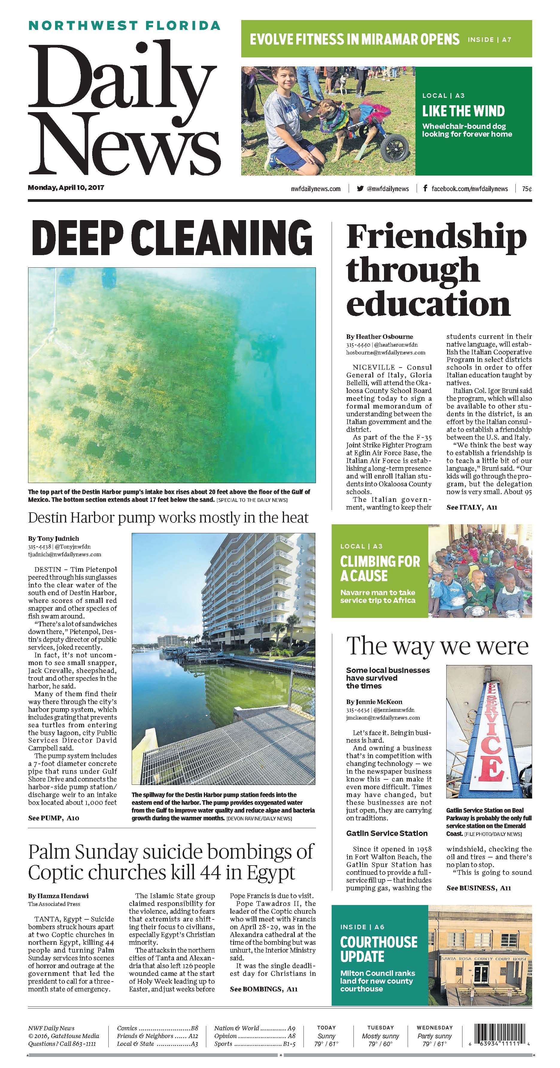 The April 10, 2017, front page of the Northwest Florida