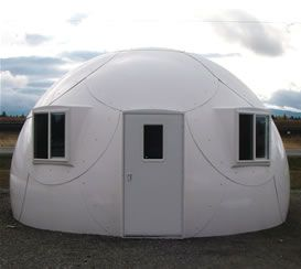The Solar Dome is a frame-less structure consisting of aerospace composite panels. It has the strength of a standard building but the mobility of a tent. One Dome can be assembled by two people in less than four hours with nothing more than a screwdriver, wrench and step ladder.When unassembled, the enclosure can fit into the back of a pickup truck and easily transported anywhere, and retaining its structural integrity. (M) Imagine the possibilities for nomadic cultures!