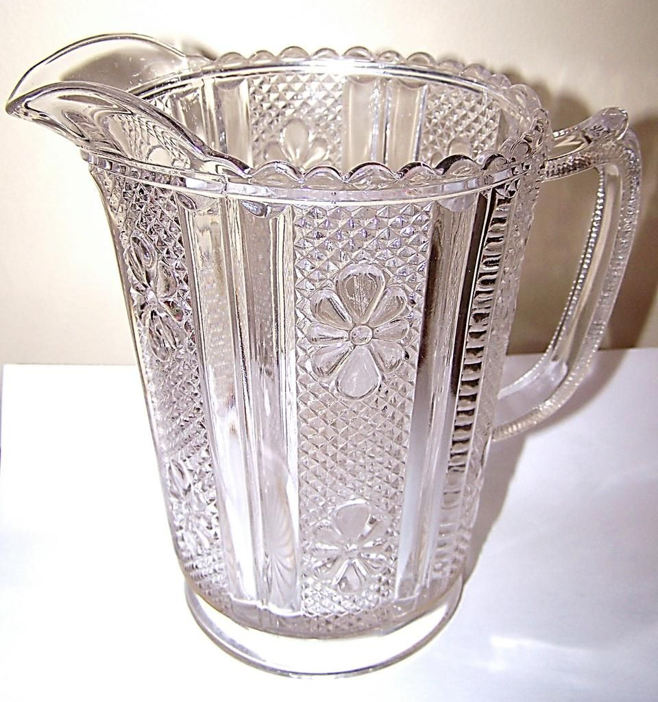 Pressed Glass Pitcher File Flower Pattern Glass pitchers