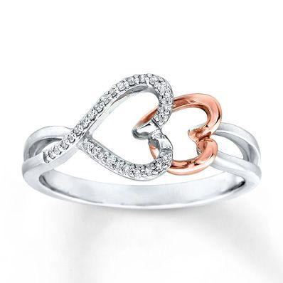 Sideways Heart Ring 1 15 cttw Diamonds Sterling Silver 10K Gold