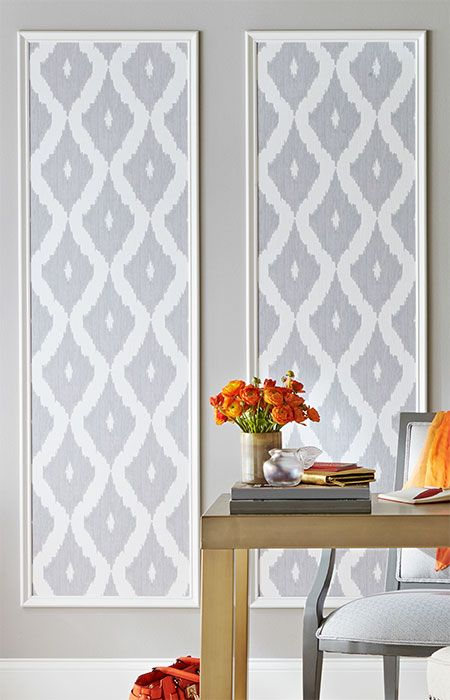 Showcase fun wallpaper patterns by framing strips in for Decorative millwork accents