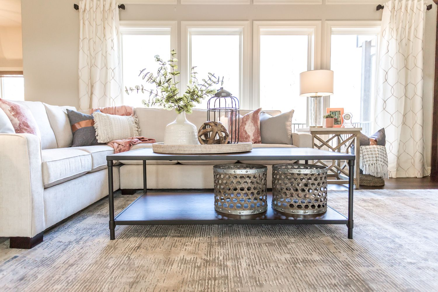Gorgeous Pottery Barn Style Living Room With Dark Wood Built Ins